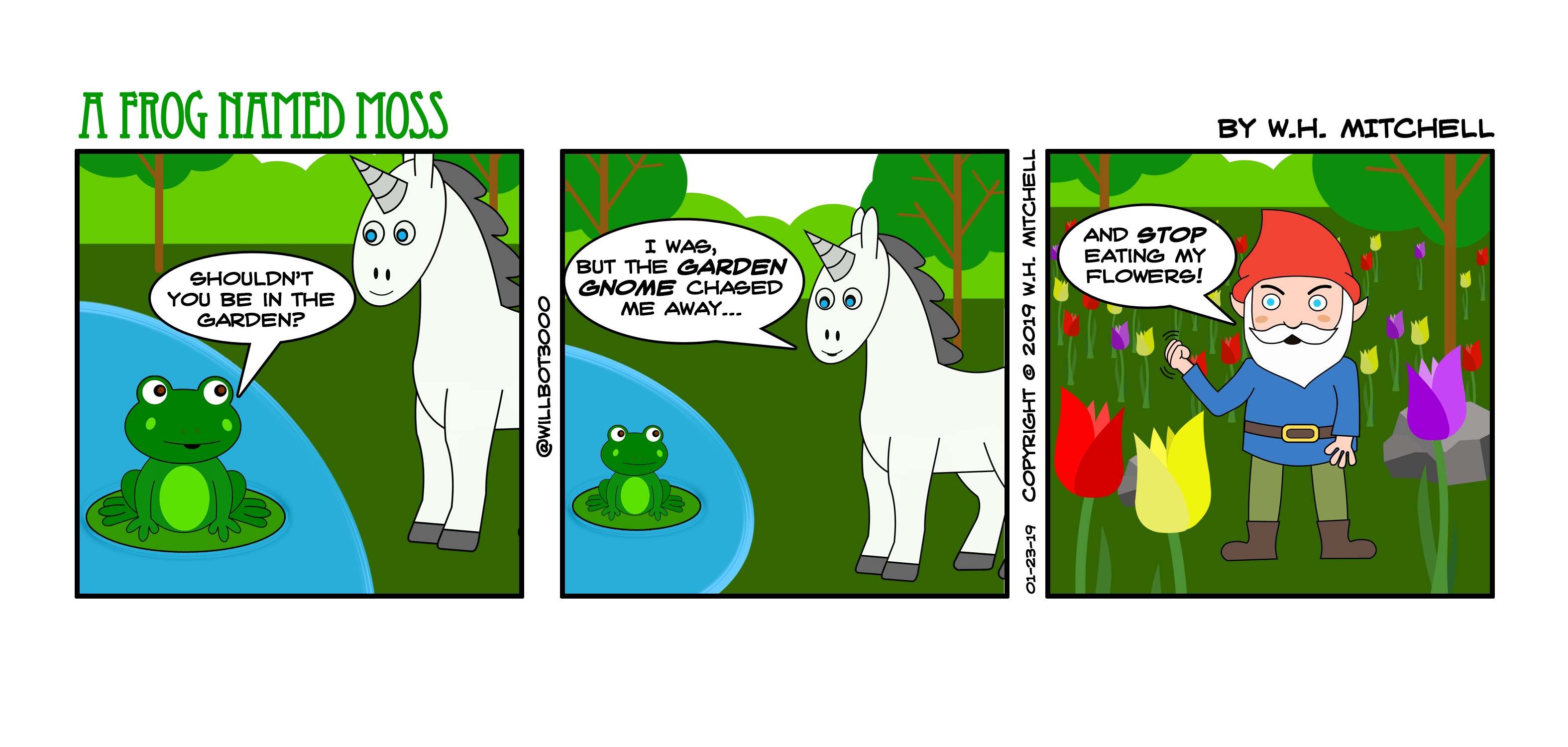 """A Frog Named Moss (""""A Kerfuffle in the Flowers"""") - Comic 1/23/19"""